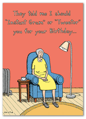 BD229 wholesale funny card for retailers. This birthday card with sarcasm is about social media card for older women