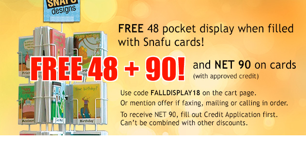 Free 48 Pocket Display with purchase from Snafu Designs