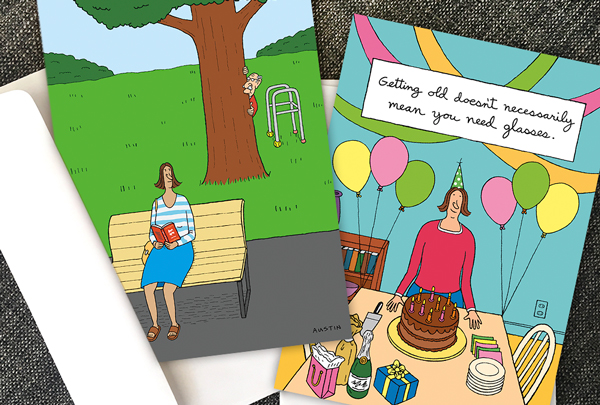 Sarcastic birthday cards with encouragement from Snafu